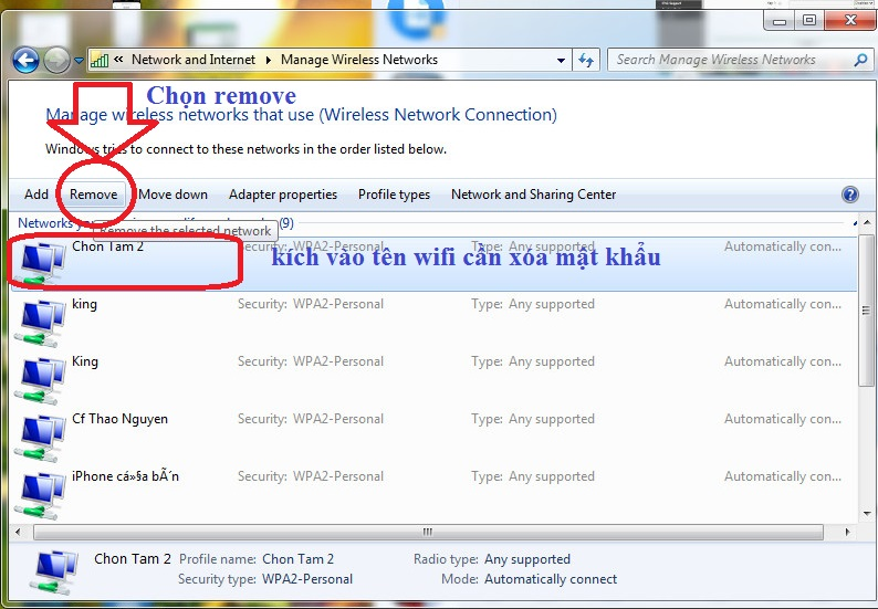 cach go mat khau wifi tren may tinh